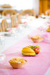 Fresh fruit on wedding or reception table, copy
