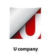 Logo label letter U # Vector