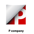 Logo label letter P # Vector