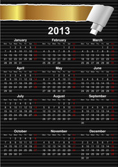 English Calendar 2013 with space for text (vector)