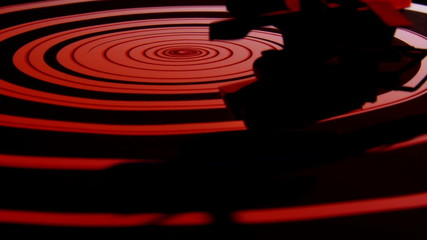 Record player, spiral, red light
