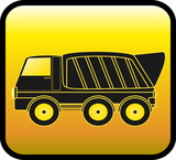 silhouette big dump truck on a glossy yellow background