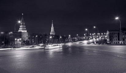 view on Great Stone Bridge and towers of Kremlin at night