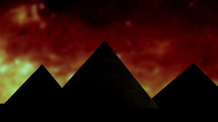 Egyptian pyramid, red sky