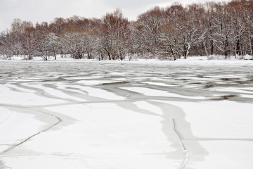 unfrozen patch of water in  icebound river