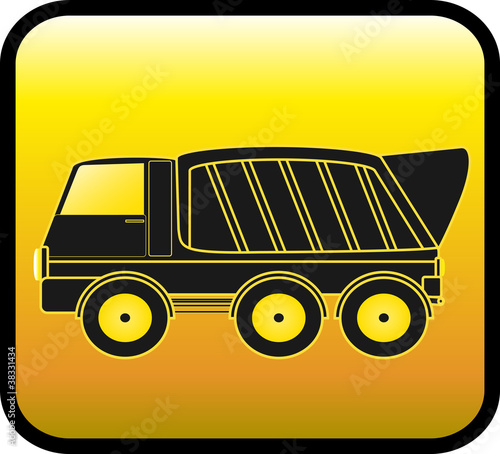 Foto op Canvas Cartoon cars silhouette big dump truck on a glossy yellow background