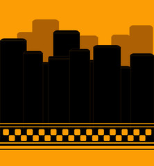 background with skyscrapper symbol night taxi