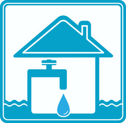 blue icon with house, drop, water pipe