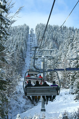 A cable car to the ski resort of