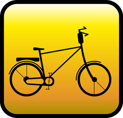 glossy yellow icon with retro bicycle