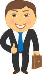 isolated cartoon businessman with portfolio and showing thumb up