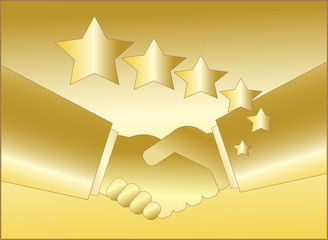 golden handshake with star symbol for rich