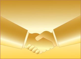 gold handshake symbol of business people