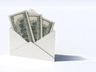 white envelope with dollars