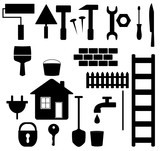 set black isolated tools for house repair