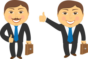 businessman with portfolio and showing thumb up