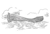 boat drawing on white background