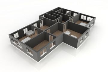 Grundriss Erdgeschoss Übersicht schwarz