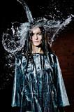 Woman Standing Under Deluge - 38336687