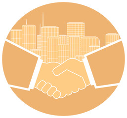 light round icon image of handshake and urban landscape