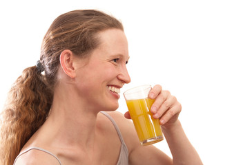 Smiling Woman drinking juice