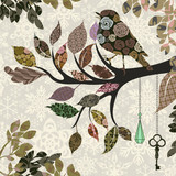Retro background of tree branch with leaves and bird of patches - 38339490
