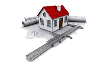 Composition of construction drawings, home and calipers