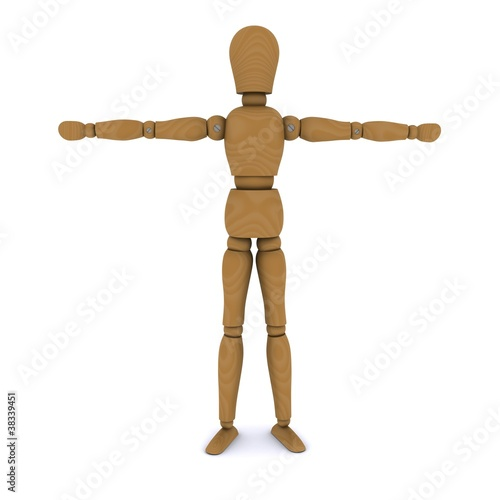 Wooden doll stands, hands to the sides. 3D rendering