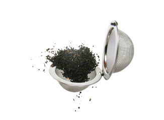 Tea strainer with a pinch of tea