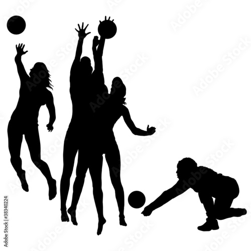 woman play volleyball silhouette