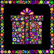 colorful gift box on black background