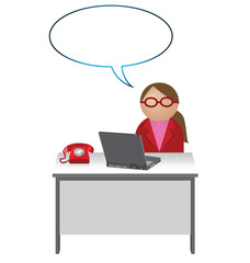 Female worker with blank speech bubble