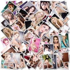 High End Beauty Collage, Frauen Gruppe, eckig schräg