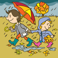 Autumn illustration.Hand drawing illustration