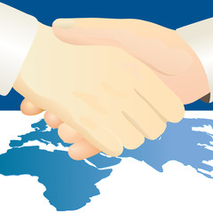 Handshake against world`s map background