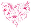Floral Love Shape. Heart of flowers, butterflies and dragonflies
