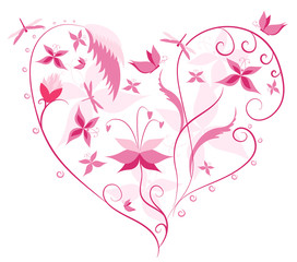 Floral Love Shape. Heart of flowers, butterflies and dragonflies
