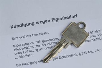 Kuendigung wegen Eigenbedarf, Wohnung, Miete, Schlüssel