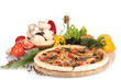 delicious pizza, vegetables, spices and oil isolated on white