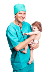 surgeon with a baby