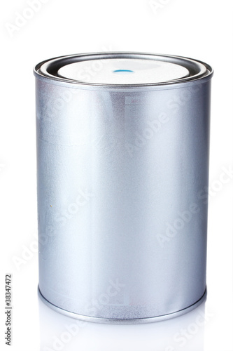 closed tin can with paint isolated on white