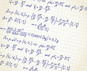 Squared paper with mathematic formulas