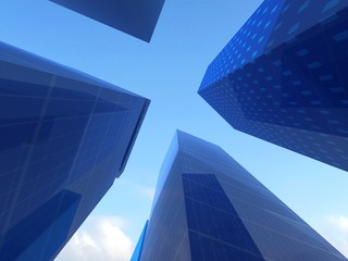 Abstract angle of blue glass skyscrapers