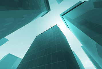Abstract angle of green glass skyscrapers with bright sun