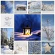 Winterliche Kollage mit Schnee und Blau