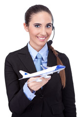 businesswoman with information about flying plan