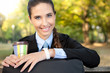 cafe break- businesswoman with cup of coffee