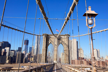 Pedestrian walkway on the Brooklyn Bridge in New York City