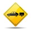 Señal amarilla simbolo coche con remolque