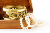 Treasure chest  gold jewelry, bracelets and pearl